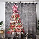 Sdustin - Cortina para niños, diseño de árbol, diseño de árbol con botones, diseño de estrella, telón de fondo de madera, multicolor de 106 x 114 cm, cortinas opacas para dormitorio, sala de estar