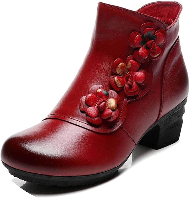 SmarketL 2018 Warm Genuine Leather Flower Ankle Boots Women Autumn Winter shoes Platform Female Boots,