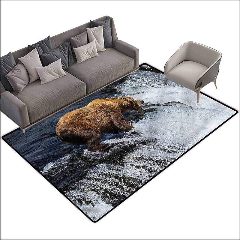 Large Floor Mats For Living Room Colorful National Parks Bear Alaska Wildlife 80 X 120 Rugs For Outside