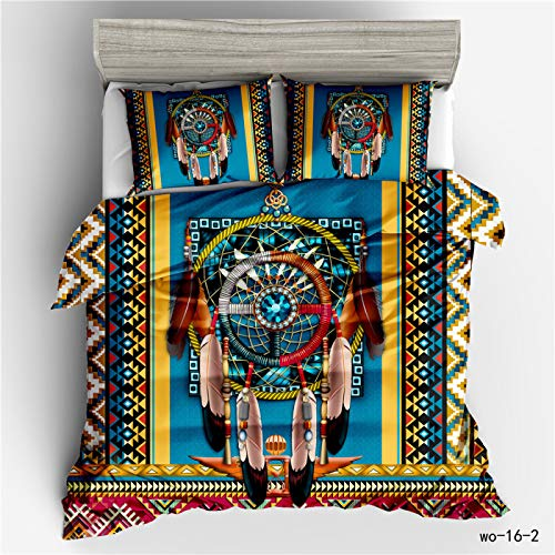 QXbecky Bohemian Totem Sheep Bone Dream Catcher Ethnic Style 3D Bedding Quilt Cover Pillowcase 3-Piece Set