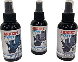 Arrest My Vest Military and Police Grade Odor Eliminating Spray for Body Armor Odor, Tactical Gear. Safe on K9's. Triple Pack of Assorted Fragrances 1 Unscented, 1 Midnight and 1 Driftwood Bottles