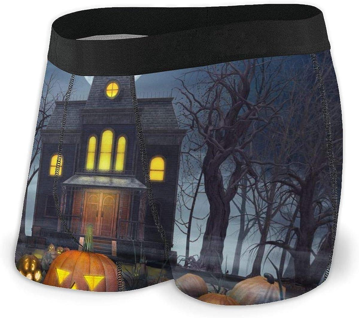 Mens Boxer Briefs Halloween Concept Pumpkin Castle Breathable Underwear