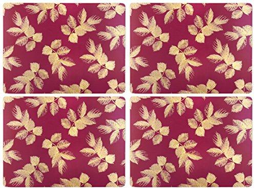 Sara Miller for Portmeirion Set de Table Motif Feuilles gravées, Céramique, Rose, 31 x 40 x 2.4 cm