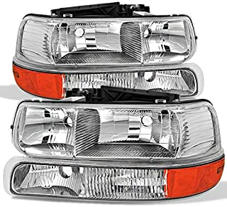 For 00-06 Chevy Suburban | 99-02 Silverado | Tahoe Clear Headlights With