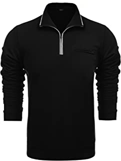 Men's Relaxed Fit Mock Neck Polo Quarter Zip Pullover Collar Sweatshirt