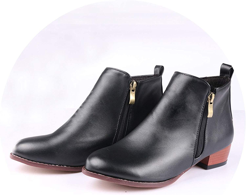 Meet- fashion Women Leopard PU Ankle Boots Round Toe Low Heel Boots Women Zipper shoes