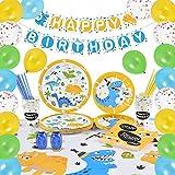 WERNNSAI Set di Forniture per Dinosauro - Decorazione del Partito per Ragazzi Bambini Compleanno Piatti Tovaglioli Copritavolo Coppe Cannucce Striscioni Palloncino Serve 16 Ospiti 105 Pezzi