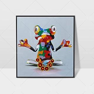 Peinture À l'huile 100% Peinte À La Main sur Toile,Modèle D'Animal Coloré Coloré De Grenouille Coloré De Modèle Moderne De...