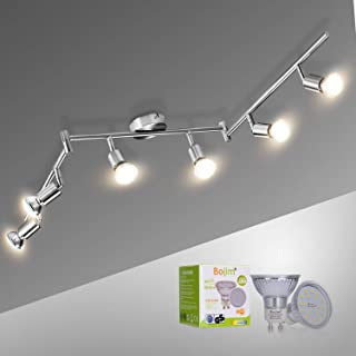 Lámparas de Techo LED 6 Focos Orientables Bojim Luz de techo con Barra Giratoria incl. 6X Bombillas GU10 6W 2800K Blanco ...