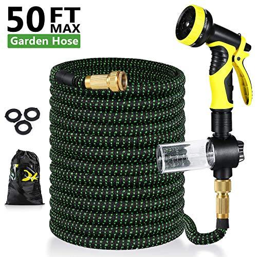 Uverbon Tubo da giardino estensibile 15 m/50 FT, tubo dell'acqua con connettore...