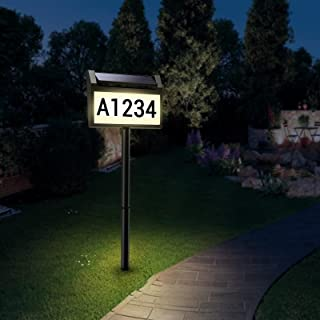 Solar House Number Sign,deerdance LED Illuminated Outdoor Address Plaque IP65 Waterproof Solar Powered House Numbers Light...