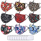 Cloth Face Mask for Women with Filter Pocket and Built-in Nose Wire, Reusable and Washable Face Covering with Adjustable Ear Loops, Floral Mouth Cover with Fashionable Patterns for Adults 9PCS