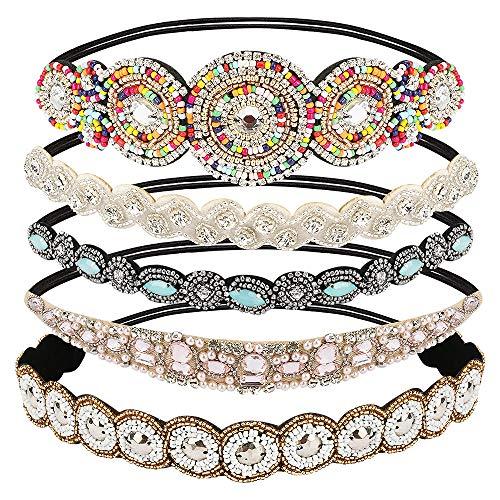 CestMall 5 pièces bandeaux, jewel main bande élastique pour cheveux bandeaux strass cristal perlé femmes mode head wrap bandeau