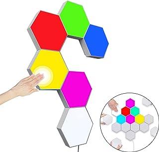 Sechseck Wandleuchte Mehrfarbig,Smart Touch Modulare LED Licht Wandpanel RGB Nachtlicht DIY Geometrie Spleißen Quantum Leu...