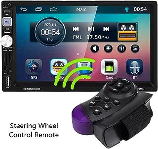 Acouto - Receptor estéreo de coche doble DIN, pantalla táctil capacitiva de 7 pulgadas, AUX/USB/FM/AM BT, reproductor multimedia de audio MP5, control remoto, cámara de marcha atrás para coche