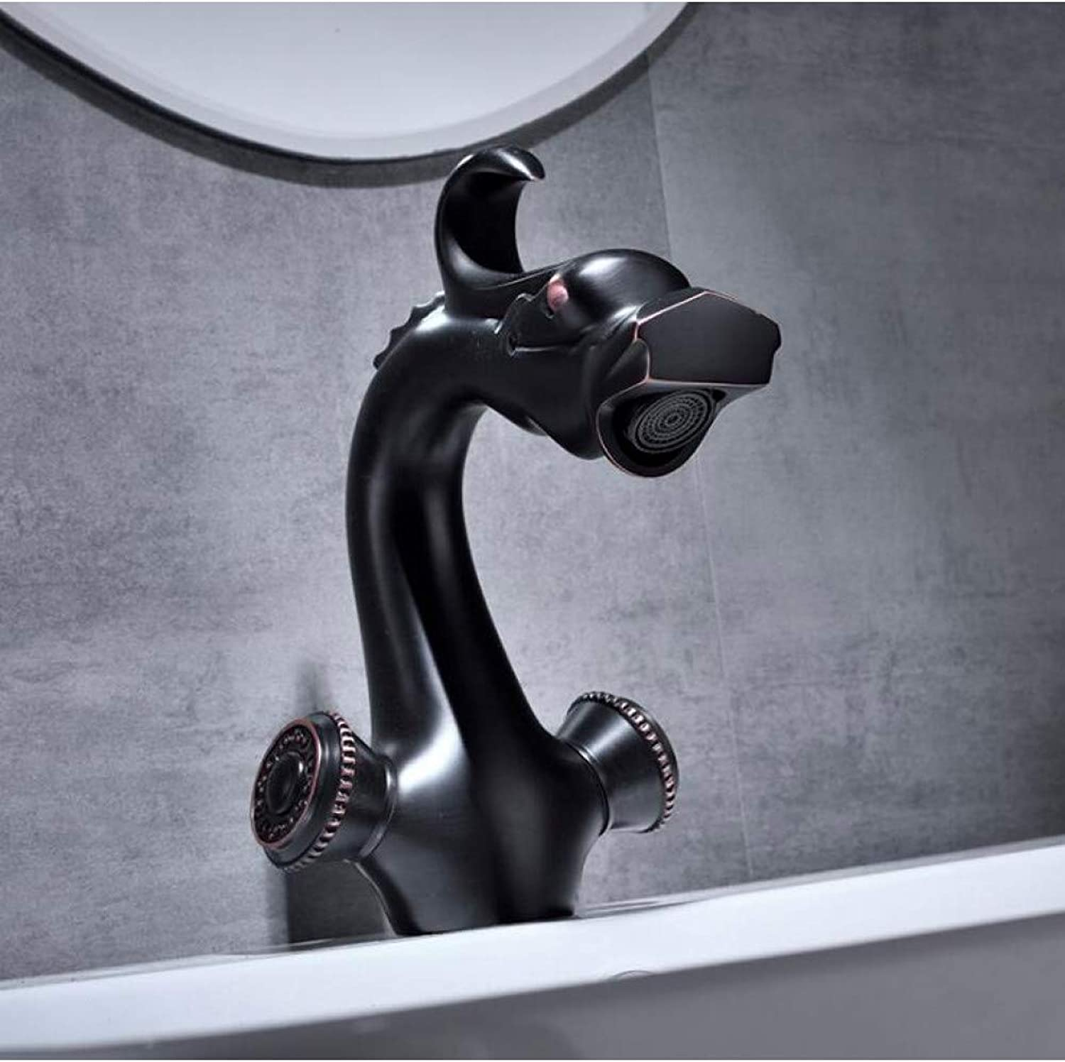 YHSGY Bathroom Sink Taps New Black Brass Dragon Design Water Mixer Bathroom Faucet Dual Clawfoot Handle Wash Basin Faucet Hot and Cold Faucet