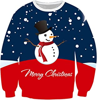 PANBOB Men Pullovers Round Neck 3D Snowman Christmas Snow Day Print Sweatshirt Spring and Autumn Long Sleeve Without Hood ...