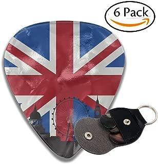 British Flag London Skyline Celluloid Guitar Picks 6 Pack Includes Thin, Medium, Heavy & Extra Heavy Gauges