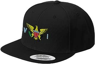 Virgin Island Flag Seal Embroidered Flat Visor Snapback Hat Black