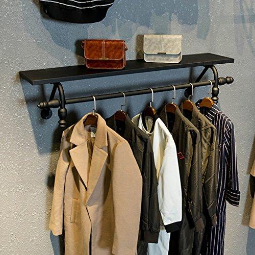 SKC Lighting-Porte-manteau Porte-manteau en fer noir étagère en bois noir décoration murale Double cintre salon chambre couloir cintre (80 cm, 100 cm, 120 cm) (taille : 100cm)