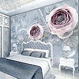 Wxlsl Benutzerdefinierte 3D Stereoskopische Fototapete Schlafzimmer Silk Lace Blumen Tapete Luxus 3D Wall Murals Hochzeit Zimmer Tapete-350cmx256cm