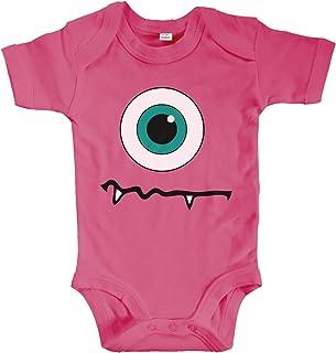 net-shirts Organic Baby Body mit Monster Eyeball Aufdruck Spruch lustig AG Strampler Babybekleidung aus Bio-Baumwolle mit Zertifikat