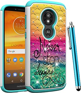 CAIYUNL for Moto E5 Cruise Case,Moto E5 Play Case Dual Layer Shockproof Hybrid Protective Armor Bling Studded Rhinestone Heavy Duty Men Women Hard PC &Soft TPU Cover for Motorola Moto E5 Play-Dearming