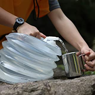 AceCamp Accordion Jerrycans, Collapsible Water Container, Drinking Water Carrier Jug with Spigot, Food Grade PET, Camping, Hiking, Backpacking, Outdoor, Flat Convenient Storage