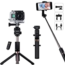 YOKKAO Upgraded Waterproof Selfie Stick Tripod Selfie Stick for Go Pro with Wireless Remote Control Selfie Stick for Gopro Compatible with Bluetooth Enabled Smartphones, Gopro, Digital Cameras