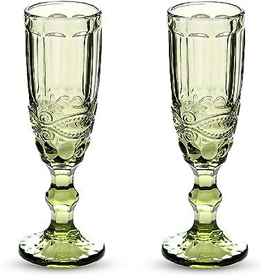 HPDEAR Vintage Champagne Flutes 5 oz Crystal Goblet Wine Glasses Colors, Set of 2 /Set of 4, Creative Vintage Color, Empaistic Glasses (Green-2,Set of 2)