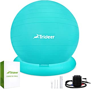 Trideer Ball Chair - Exercise Stability Yoga Ball with Base for Home and Office Desk, Ball Seat, Flexible Seating with Ring & Pump, Improves Balance, Back Pain, Core Strength & Posture