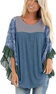 LONGDAY😍 Long Sleeve Irregular Hem Womens Solid Bell Short Sleeve High Low Tunic Tops Chiffon T-Shirt Blouse S-5XL