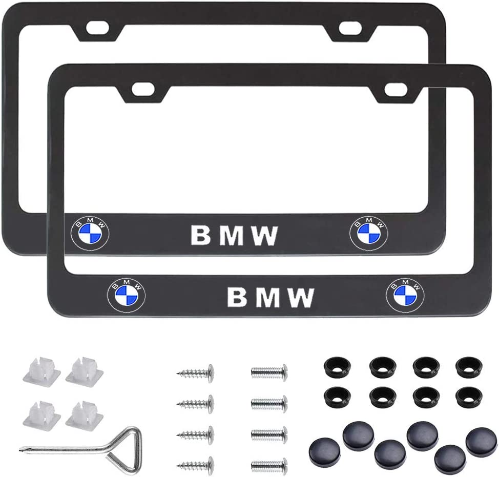 Accessories Included Applicable to Standard US License Plate Cover DecoCar 2 Pcs Premium Black Aluminum Alloy License Plate Frame fit TRD Tag License Plate