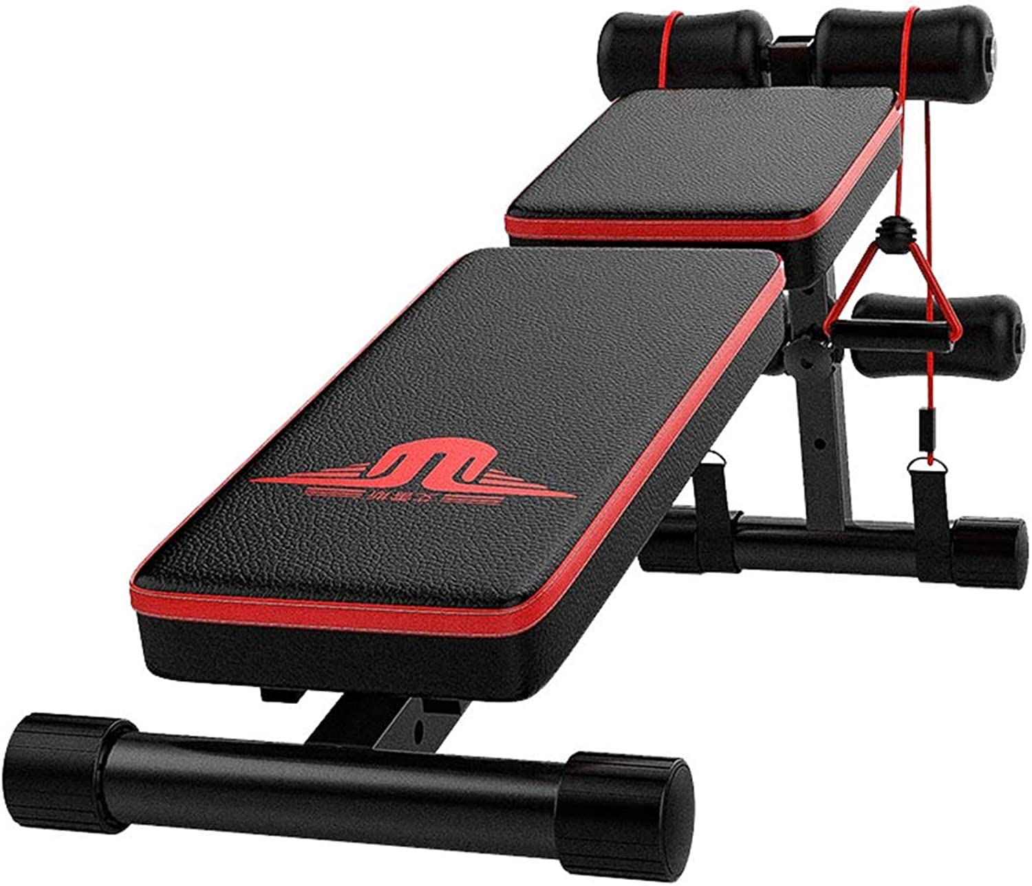 Sit Up BenchExercise Bench Foldable Multi-Function Dumbbell Bench 3 Heights Adjustment Load Capacity 385 Lbs Black + Red