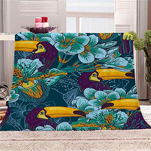 Bbaodan Sherpa Throw Blankets Soft Fluffy Jungle Toucan Turquoise Blanket Warm Bed Throws Elegant Cozy Blanket For Indoors,Outdoors, Travel And Home, 100% Microfiber 70.9X78.7 Inch