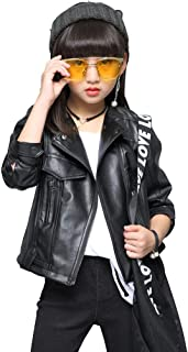 LAVIQK Girls Fashion PU Leather Motorcycle Jacket Children's Outerwear Slim Coat 2-12 Years