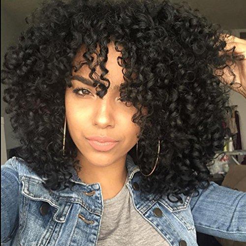 Pelucas cortas rizadas afro Kinky rizadas para mujeres negras resistentes al calor sintético Full Black pelucas con brazaletes
