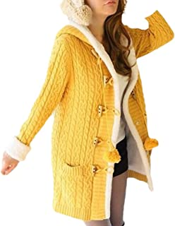 Womens Button Down Cable Knit Cardigans Fleece Hooded Button Sweater Coats