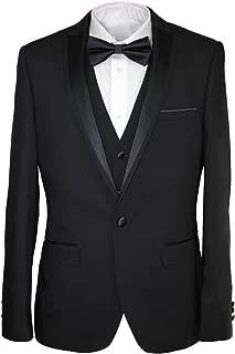Harry Brown Three Piece Slim Fit Dinner Suit in Black/Indigo 36 to 48