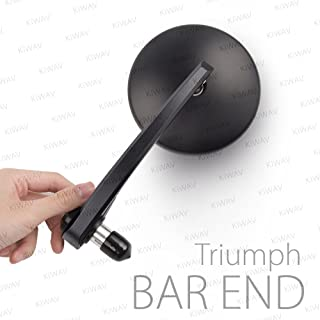 KiWAV Eclipse Black Motorcycle Bar End Mirrors Convex Lens Retro Design Wide View compatible with Triumph Motorcycles