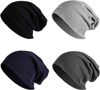 4 Pack Women Men Stylish Thin Hip-hop Soft Stretch Knit Slouchy Beanie Hat Skull Cap