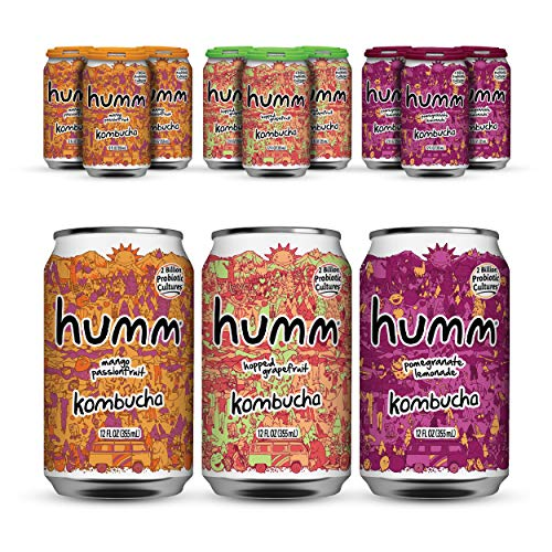 Humm Probiotic Kombucha Favorite Flavor Pack - 2 Billion Probiotics for Gut Health - Mango Passionfruit, Hopped Grapefruit and Pomegranate Lemonade (12 Pack)