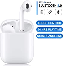Bluetooth 5.0 Wireless Earbuds with Fast Charging Case 24Hrs Playtime IPX5 Waterproof TWS Stereo Headphones in-Ear Built-in Mic Auto Pairing Bluetooth Headset for Apple Airpods Android/iPhone