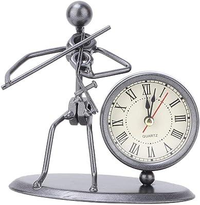 HEEPDD Eisen Kunst Schreibtisch Dekoration, Klassische Iron Man Uhr Ornamente Miniatur Retro Musik Modell Home Office Schreibtisch Kunst Handwerk Dekoration (ohne Batterie)(Violine 2)