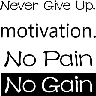 3 Sheets Wall Sticker Motivation Wall Sticker Never Give Up Wall Decal No Pain No Gain Inspirational Wall Sticker Quote fo...