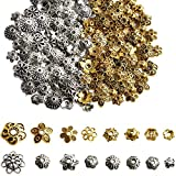FEBSNOW About 160Pcs Spacer Beads Caps, Bali Style Mixed Tibetan Silver and Antique Gold Flower Bead...