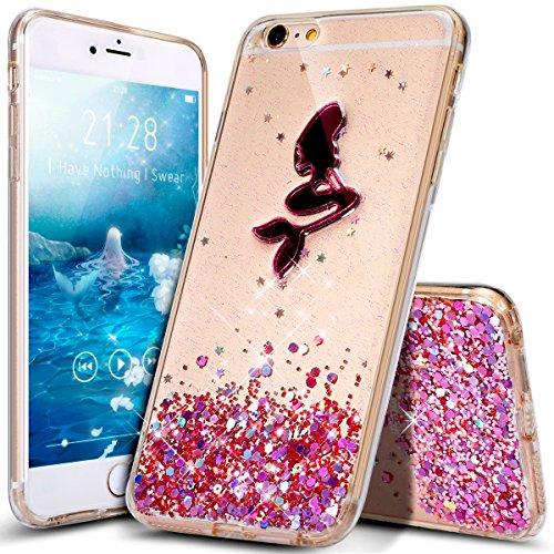 Cover iPhone 6 Plus,Cover iPhone 6S Plus,ikasus modello sirena Cristallo Bling scintillio lucido diamante Trasparente Morbida TPU Silicone Gel Custodia Case Cover per iPhone 6S Plus/6 Plus,Rosa