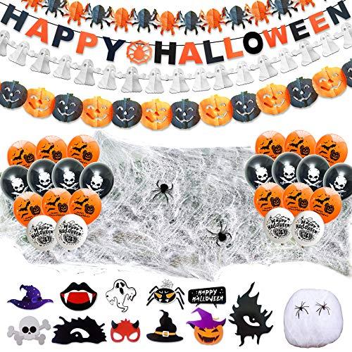 LISOPO 48pcs Decoration Halloween XXL Ensemble Deco Halloween - Ballons,Banderole Bannière Guirlande des Citrouilles des fantômes et des araignées,Toile d'Araignees Set d'accessoires pour la Photo…