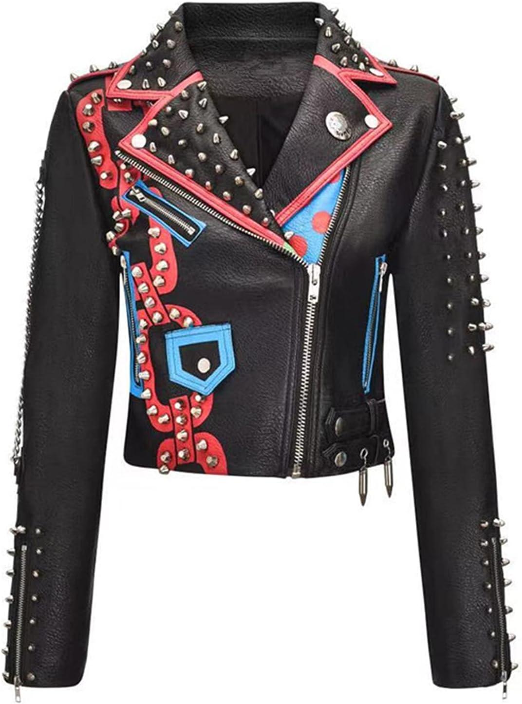 YHNY Women's Faux Leather Jacket Rivet Zipper Motorcycle Biker Graffiti Printed Letters Contrast Color Short Coat Black-M