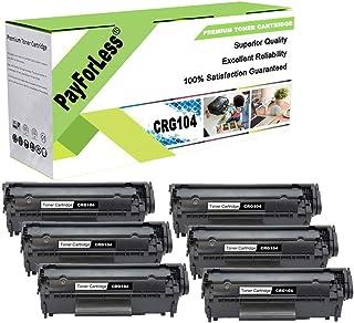 PayForLess Toner Cartridge 104 CRG104 Black 6 Pack Replacement for Canon imageClass MF4150 Faxphone L90 D420 LBP2900 LBP3000 MF4270 MF4690